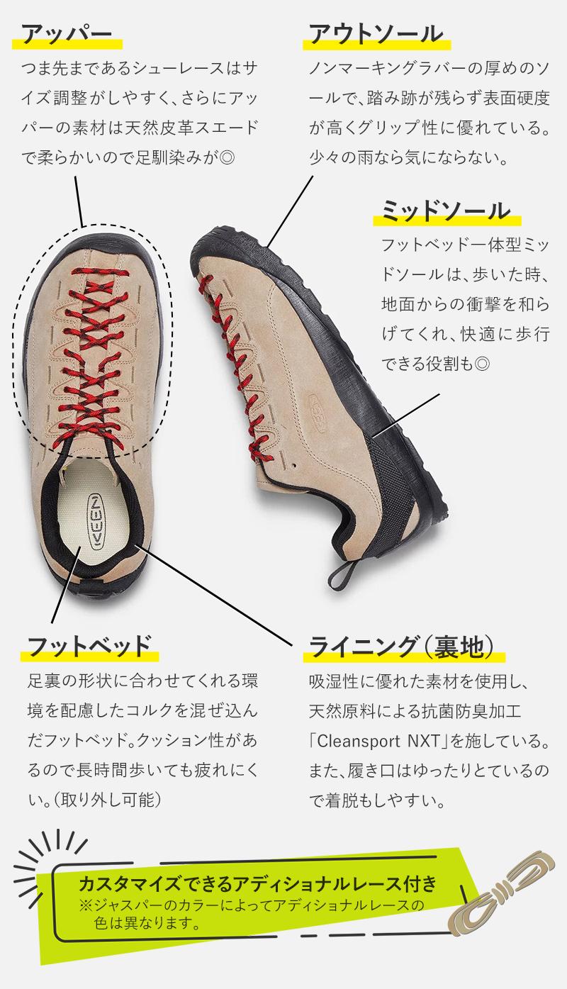 アッパー つま先まであるシューレースはサイズ調整がしやすく、さらにアッパーの素材は天然皮革スエードで柔らかいので足馴染みが◎ フットベッド 足裏の形状に合わせてくれる環境を配慮したコルクを混ぜ込んだフットベッド。 クッション性があるので長時間歩いても疲れにくい。(取り外し可能) アウトソール ノンマーキングラバーの厚めのソールで、踏み跡が残らず表面硬度が高くグリップ性に優れている。少々の雨なら気にならない。 ミッドソール フットベッド一体型ミッドソールは、歩いた時、地面からの衝撃を和らげてくれ、快適に歩行できる役割も◎ ライニング(裏地) 吸湿性に優れた素材を使用し、天然原料による抗菌防臭加工「Cleansport NXT」を施している。また、履き口はゆったりとているので着脱もしやすい。 カスタマイズが楽しめる アディショナルレース付き ※ジャスパーのカラーによってアディショナルレースの色は異なります。