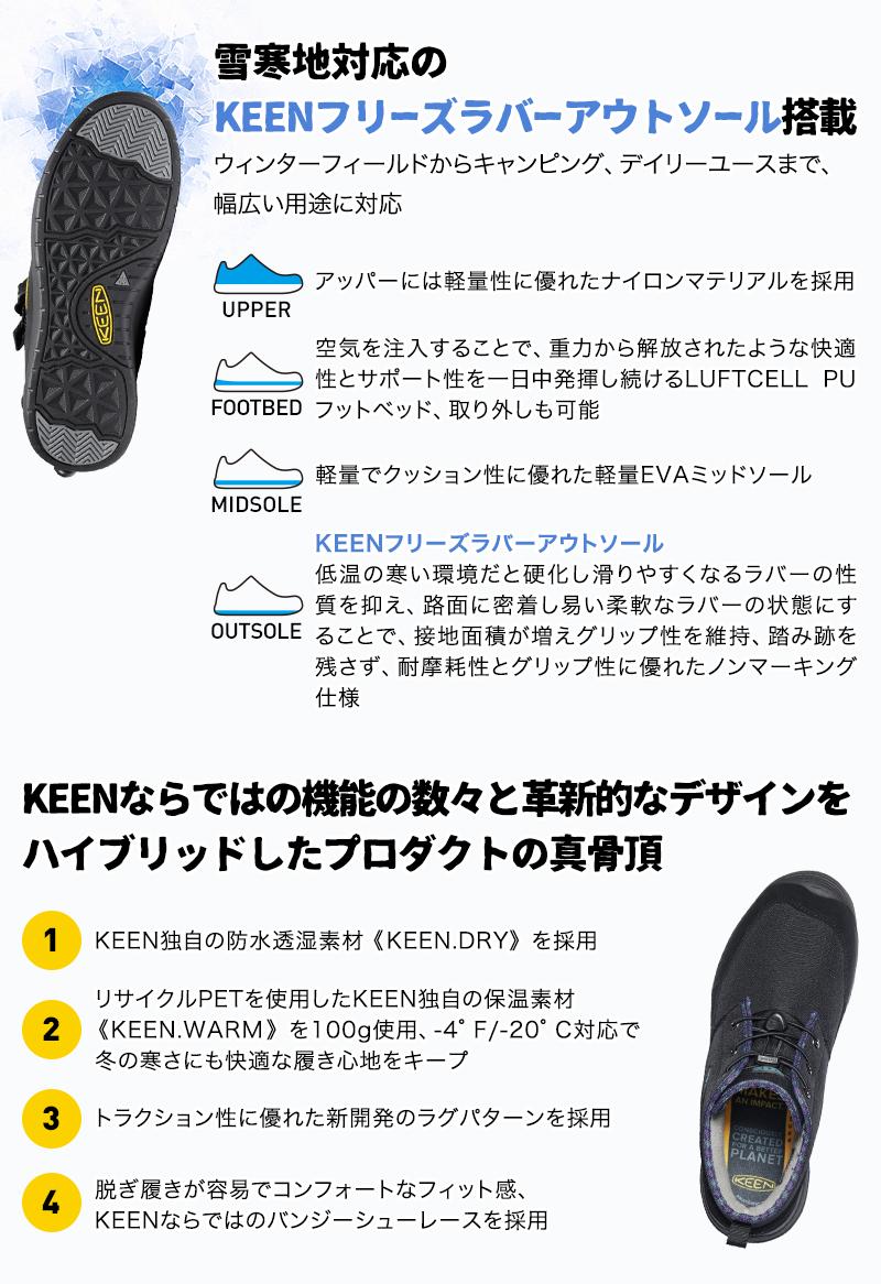 雪寒地対応のKEENフリーズラバーアウトソール搭載 KEENならではの機能の数々と 革新的なデザインをハイブリッドしたプロダクトの真骨頂